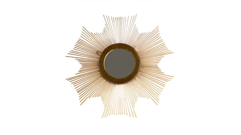 SUNBURST WALL ART DECOR HANGING MIRROR