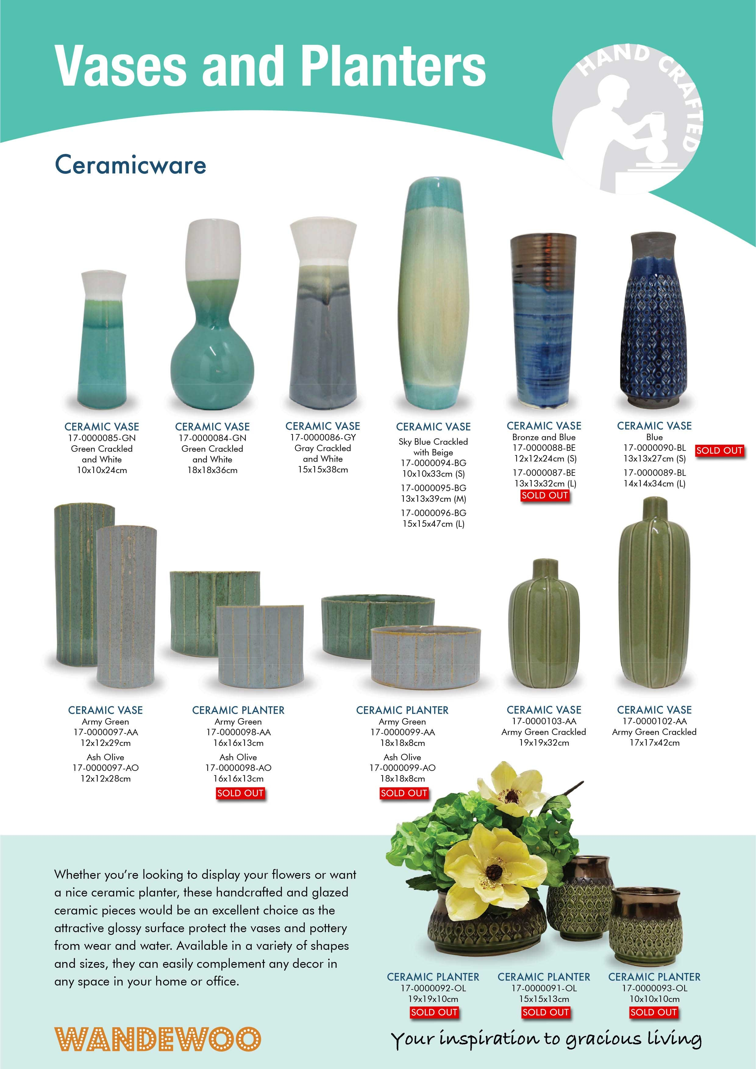 Home Décor Accessories - Ceramicware Vases and Planters
