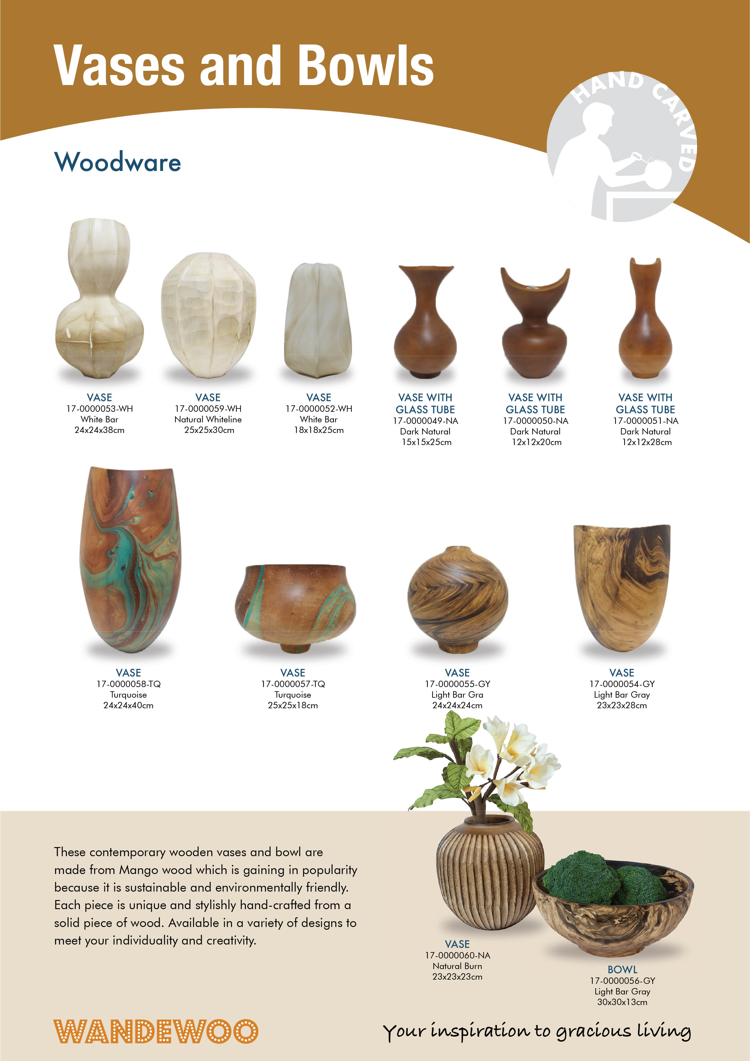Home Decor and Accessories in Singapore - Woodware Vases & bowls