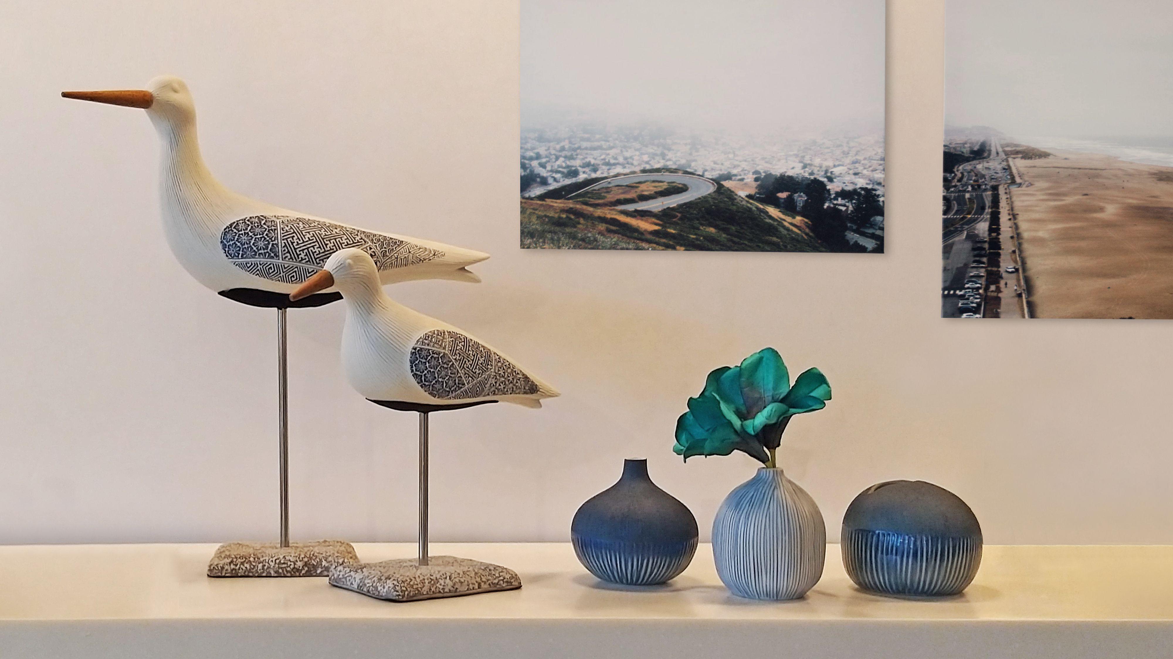Ceramic bird figurines and mini vase set home accessories perfect for minimalist house interior.