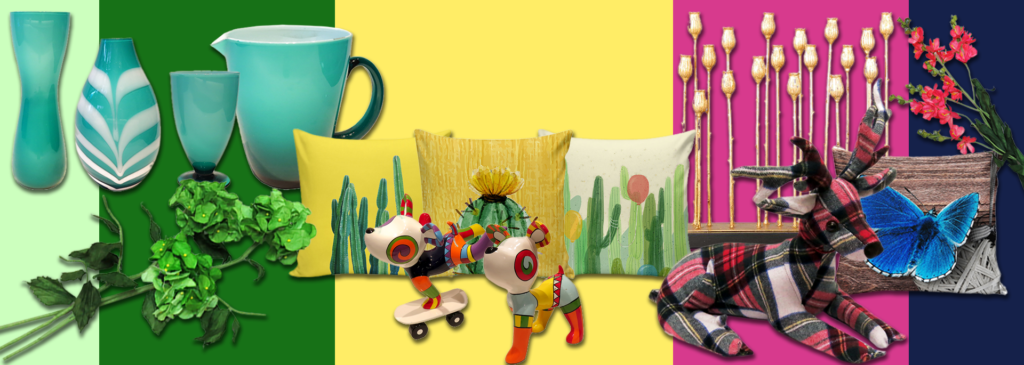 Vases, cushions, pop art sculptures, and metawares as decorations that add color to every home
